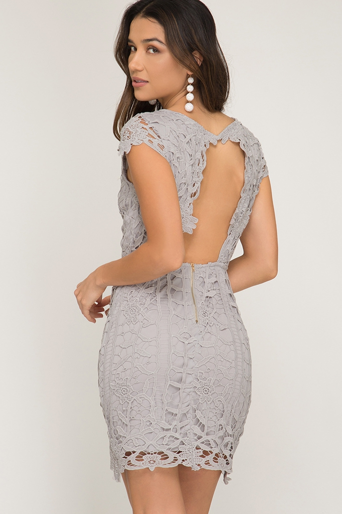 CAP SLEEVE LACE CROCHET DRESS - orangeshine.com