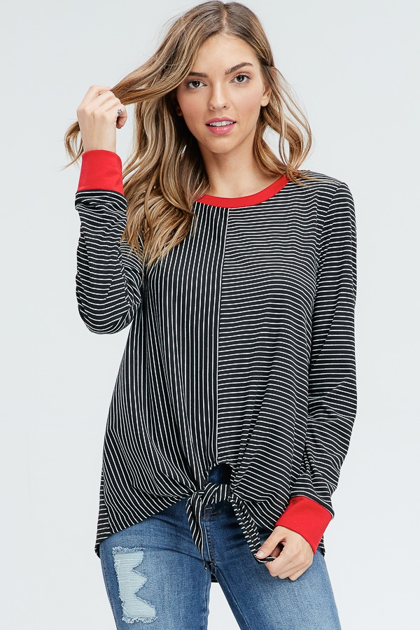 Split Stripe Front Tie Knit Top  - orangeshine.com