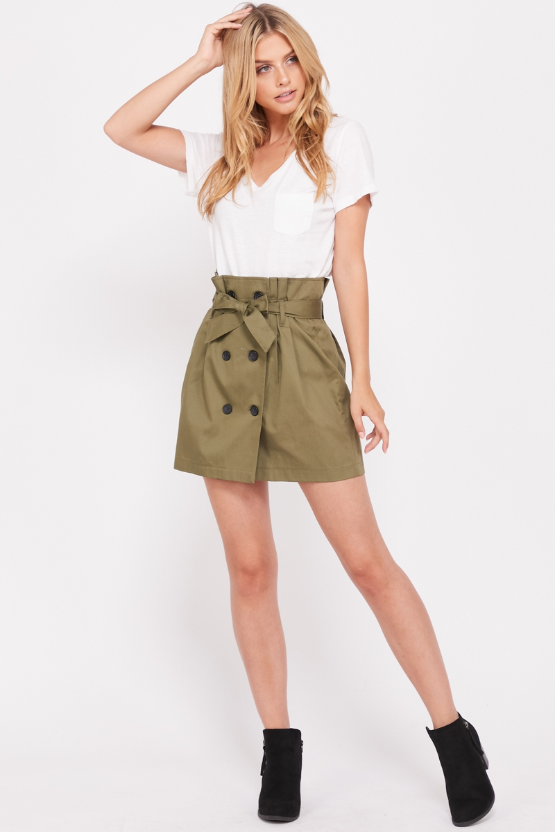Button Down Belt Skirts  - orangeshine.com