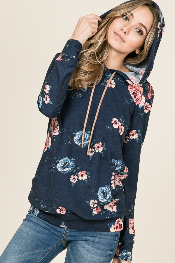 FLORAL PRINT LONG SLEEVE HOODED TOP - orangeshine.com