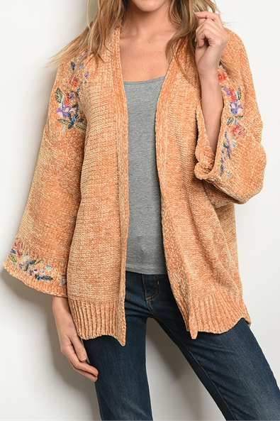 EMBROIDERY DETAIL LOOSE FIT CARDIGAN - orangeshine.com