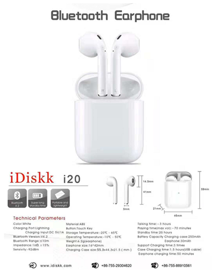 iDIskk I20 Blutooth Earphone - orangeshine.com