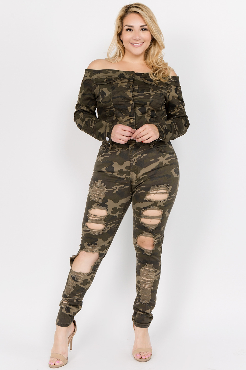 PLUS SIZE HIGH RISE DESTROYED JEANS - orangeshine.com