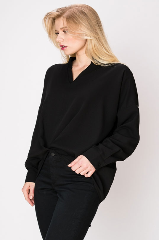 BLACK SHOULDER DRAPE LONG SLEEVE TOP - orangeshine.com