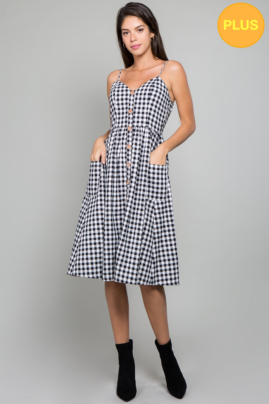 Plaid Sleeveless Button Down Dress  - orangeshine.com