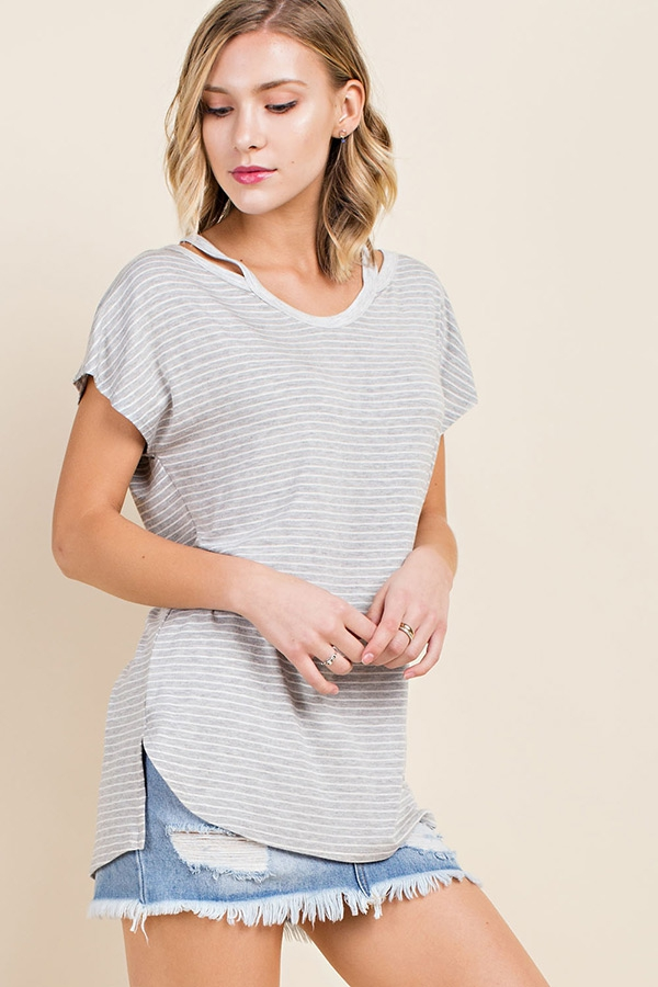 Striped Scoop U Neck Top - orangeshine.com