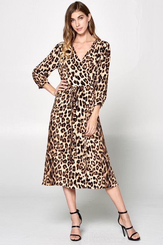 LEOPARD PRINT WRAP DRESS - orangeshine.com