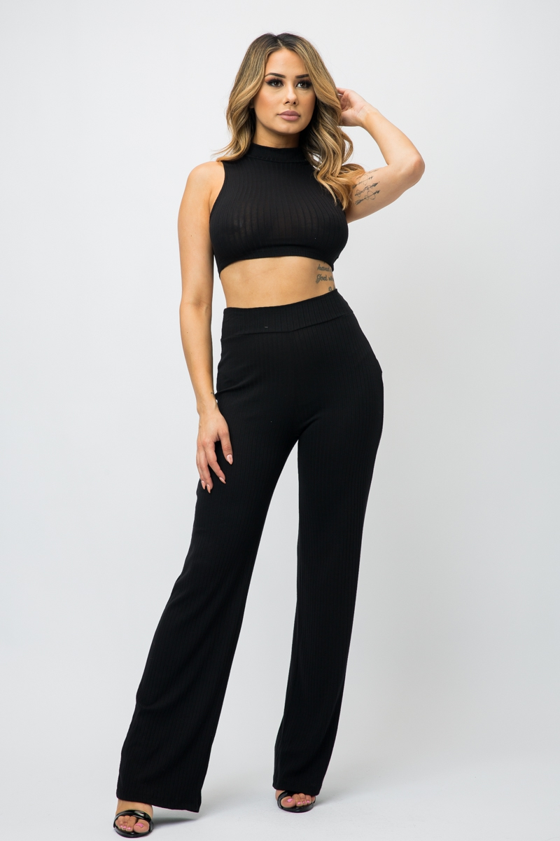 MOCK NECK CROP TOP AND PANT SET - orangeshine.com