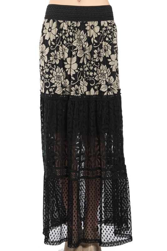 AS8074 MIXED LACE MAXI SKIRT - orangeshine.com
