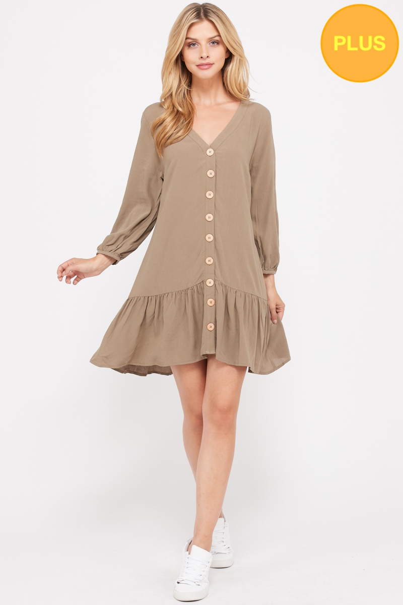 V neck Long sleeves Dress  - orangeshine.com