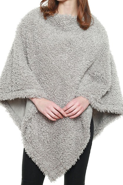 SOFT TEXTURED BOUCLE FAUX FUR PONCHO - orangeshine.com