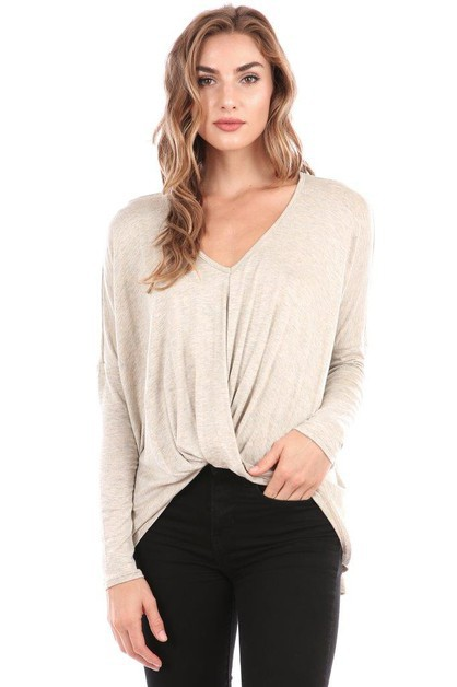 V Neck Twist Front Fashion Top - orangeshine.com