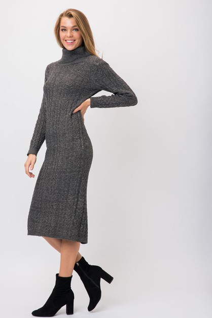 CHUNKY KNIT COWL NECK SWEATER DRESS - orangeshine.com