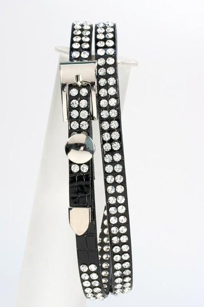 Slim Crystal Studded Belt - orangeshine.com