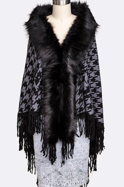 Faux Fur Collar Houndstooth Fringe  - orangeshine.com