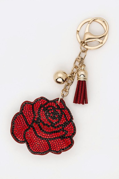 Crystal Rose Faux Suede Key Chain - orangeshine.com