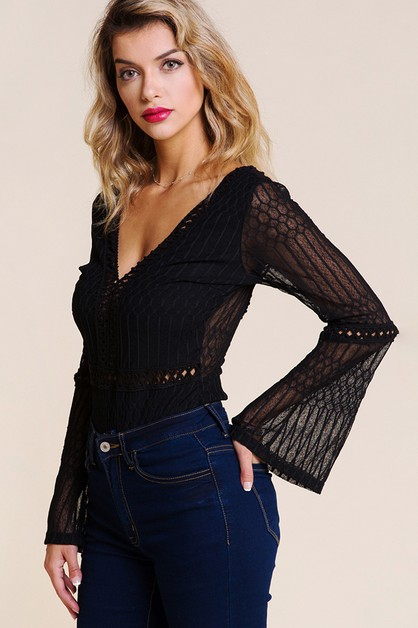 DEEP V-NECK LACE BODYSUIT - orangeshine.com