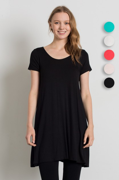 KNIT SCOOP NECK LOOSE FIT DRESS - orangeshine.com