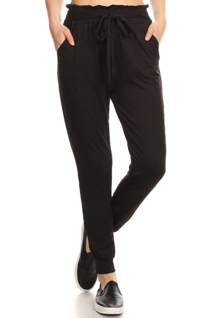 Black Loose Fit Relaxed Pants Jogger - orangeshine.com