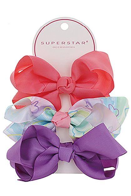3-pc Multi Bow Hair Clip Set - orangeshine.com