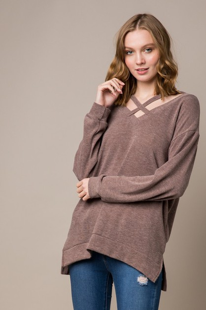 Solid Knit Top with Crisscross - orangeshine.com