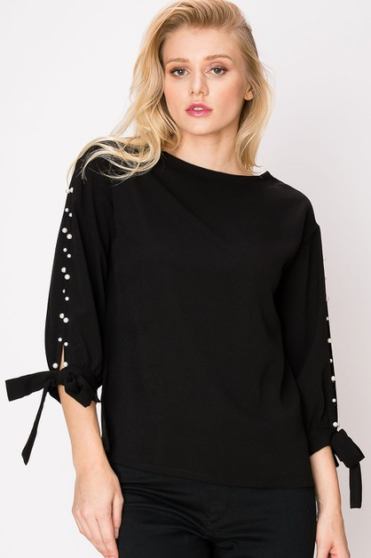 BLACK BOW TIE SLEEVE TOP WITH PEARL - orangeshine.com