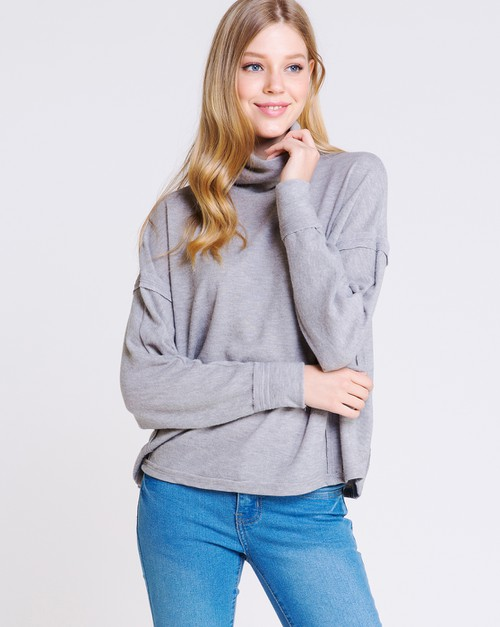 Oversized Slouchy Turtle Neck Pull - orangeshine.com
