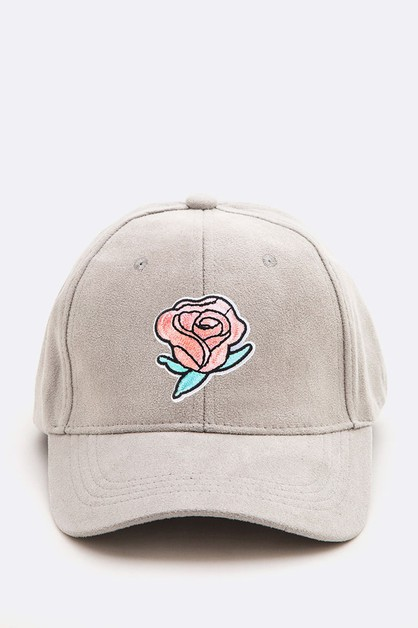 Rose Patch Suede Cap - orangeshine.com