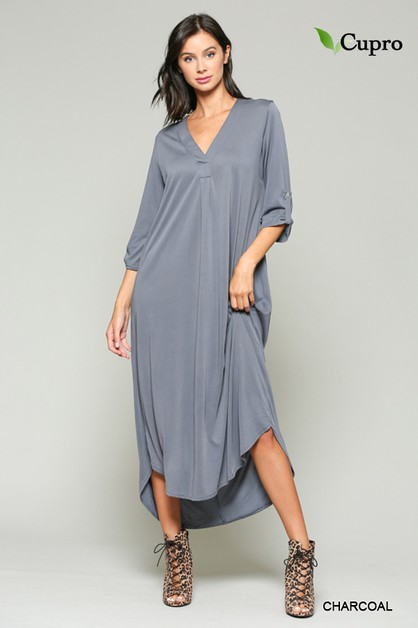 Roll Up Sleeve Cupro Maxi Dress - orangeshine.com