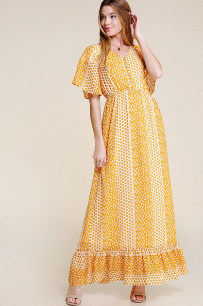 MAXI DRESS WITH DITZY SMALL PRINT - orangeshine.com