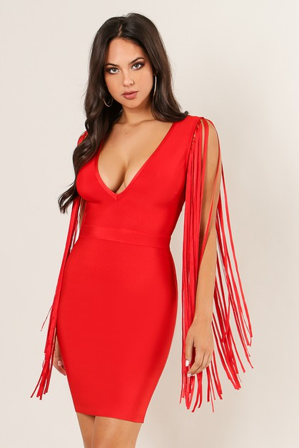 Fringe Sleeve Bandage Dress - orangeshine.com