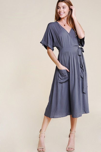 SIDE WRAP DRESS WITH WIDE POCKETS - orangeshine.com