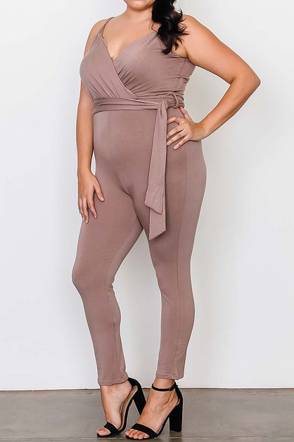 BODY CON BELTED PLUS JUMPSUIT - orangeshine.com