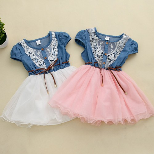 Girls Patchwork Denim Tutu Dress - orangeshine.com