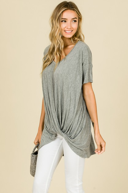 LOOSE FIT V-NECK JERSEY FRONT KNOT  - orangeshine.com
