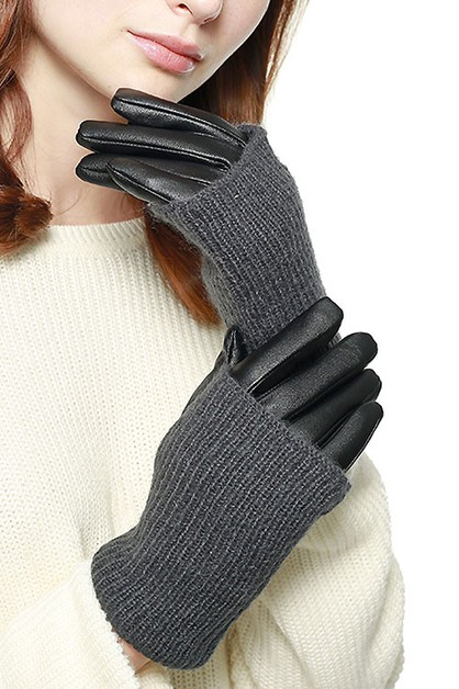 Knit Trimmed Faux Leather Glove - orangeshine.com