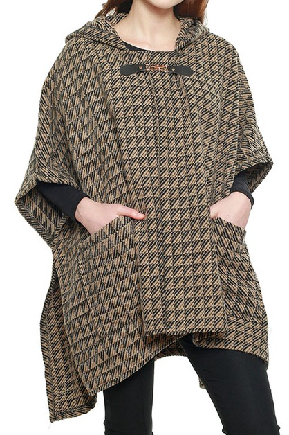 HOODED CAPE PONCHO WITH HOOK CLOSURE - orangeshine.com