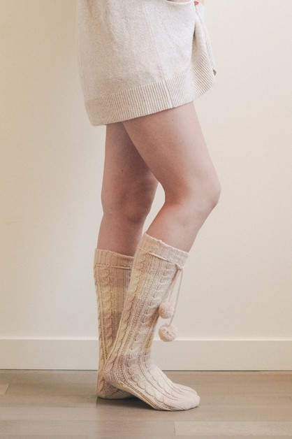 Knee High Striped Pom Pom Socks  - orangeshine.com