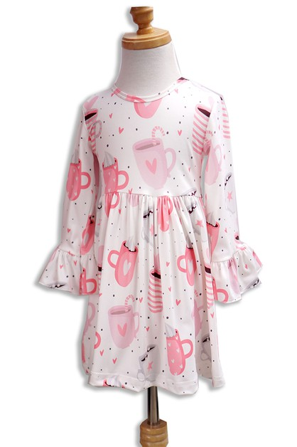 Cappuccino Print Bell Girls dress - orangeshine.com