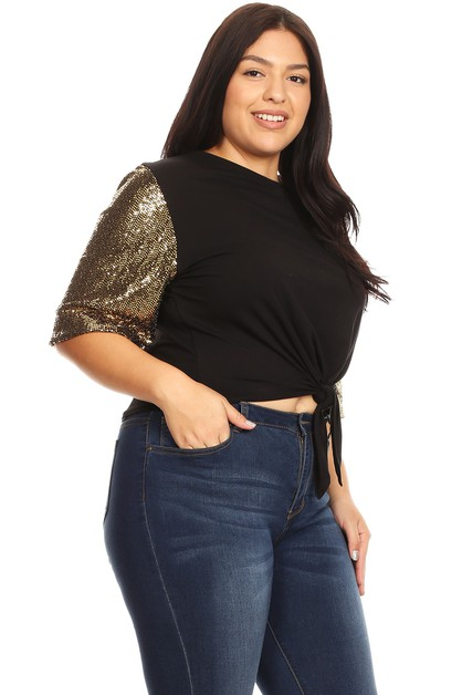 Crop Top with Sequin Embelishment  - orangeshine.com