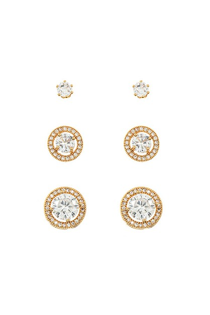 CRYSTAL ROUND POST EARRING SET  - orangeshine.com
