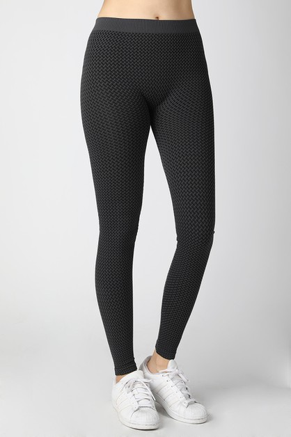 3-Tone Weave Leggings - orangeshine.com