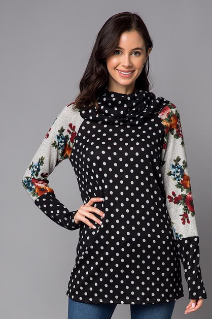 Turtle Neck Polka Dot Floral - orangeshine.com