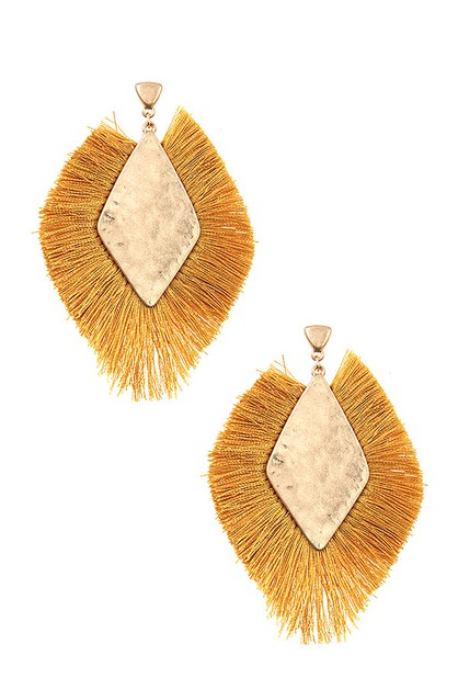 HAMMERED DIAMOND FRINGE TRIM EARRING - orangeshine.com