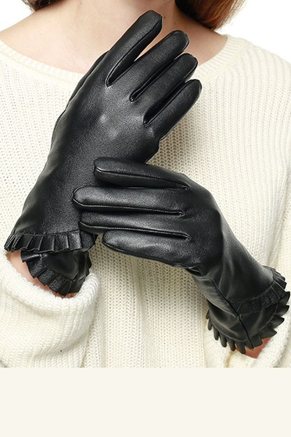 Ruffle Accent Faux Leather Gloves - orangeshine.com