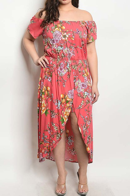 OFF SHOULDER FLORAL SKIRT ROMPER - orangeshine.com