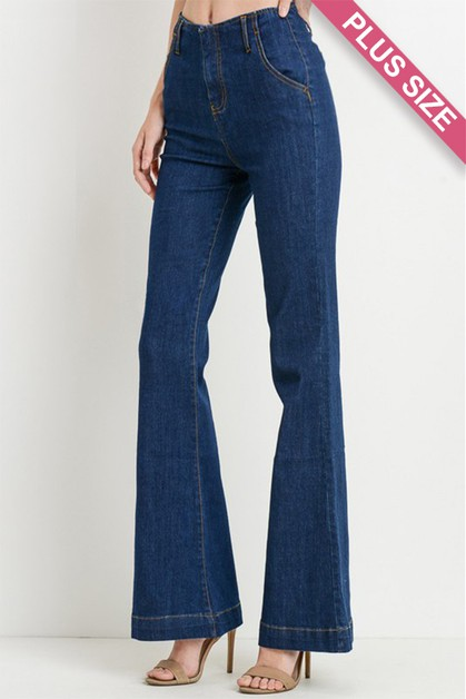 Plus Size High Waist Flare Jeans - orangeshine.com