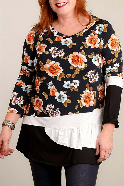 PLUS BLACK FLORAL BLOUSE - orangeshine.com