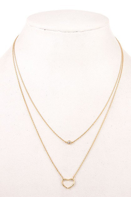 CUT OUT HEART LAYERED NECKLACE  - orangeshine.com