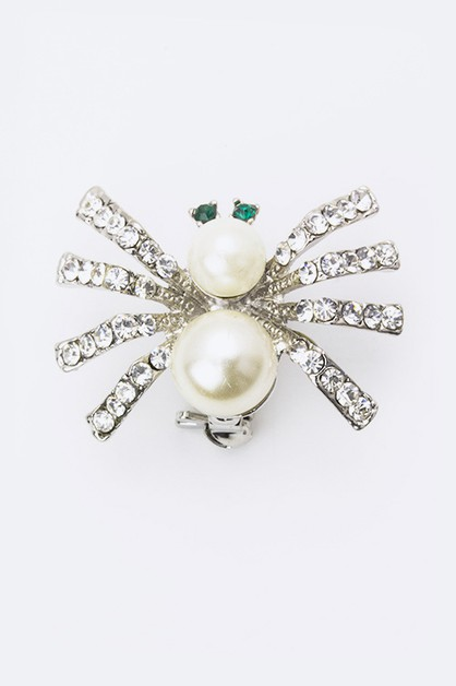 Crystal and Pearl Spider Brooch - orangeshine.com